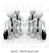 3d Clip Art of a White Business Team Stacking Hands by 3poD