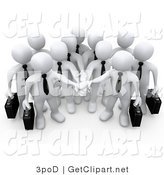 3d Clip Art of a White Business Team Stacking Their Hands by 3poD