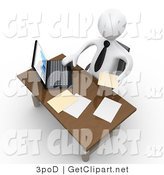 3d Clip Art of a White Businessman Seated at a Wooden Desk and Using a Laptop While Doing Paperwork at the Office by 3poD