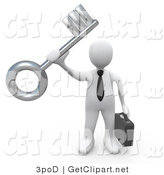 3d Clip Art of a White Guy Holding a Key by 3poD