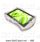 3d Clip Art of a White Handheld Organizer with a Green Wavy Screen Saver or Desktop by 3poD