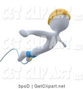 3d Clip Art of a White Male Bungee Jumper in a Yellow Helmet, Falling While Bungee Jumping by 3poD