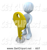 3d Clip Art of a White Man Inserting a Large Golden Key into a Keyhole, Symbolising Success, Security or Secrecy by 3poD