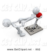 3d Clip Art of a White Man Pulling the Legs of Another to Try to Assist with Turning a Lever to the off Position by 3poD