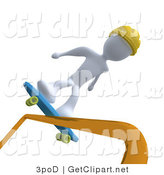 3d Clip Art of a White Man Skateboarding on a Rail and Wearing a Yellow Helmet by 3poD