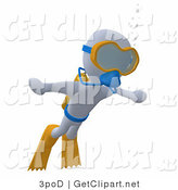 3d Clip Art of a White Man Swimming Underwater While Scuba Diving, Wearing Goggles, Flippers and an Oxygen Tank by 3poD