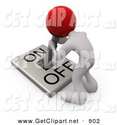 June 20th, 2013: 3d Clip Art of a White Man with a Red Head Attached to an On/off Switch Lever, Crouching over and Struggling to Turn the Switch on by 3poD
