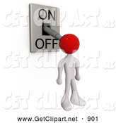 3d Clip Art of a White Man with a Red Head Attached to an On/off Switch Lever, Set to off by 3poD