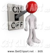 3d Clip Art of a White Man with a Red Head Attached to an On/off Switch Lever, Set to on by 3poD