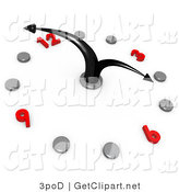3d Clip Art of a White Office Wall Clock with Bending Black Hands Pointing at 4pm, Silver Hour Dots and Red Numbers by 3poD