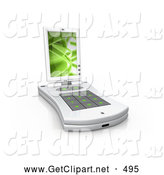 3d Clip Art of a White Pda Computer with a Small Keyboard and a Green Screen Saver over White by 3poD