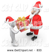 3d Clip Art of a White Person Accepting a Gift from Kris Kringle by 3poD