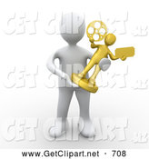 3d Clip Art of a White Person Accepting a Golden Entertainment Trophy by 3poD