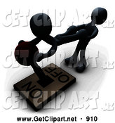 3d Clip Art of a White Person Pulling the Legs of Another While Assisting THem with Turning a Lever Off, on White by 3poD