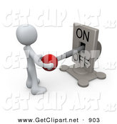 3d Clip Art of a White Person Standing in Front of a Switch Plate and Holding the Red Knob, Preparing to Turn the Machine on by 3poD