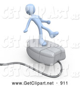 3d Clip Art of a White Person Trying to Maintain His Balance While Riding on a Large White Computer Mouse and Surfing the Internet by 3poD