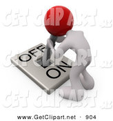 3d Clip Art of a White Person with a Red Head Attached to an On/off Switch Lever, Crouching over and Struggling to Turn the Switch Off, on White by 3poD