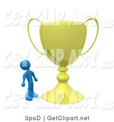 3d Clip Art of a Winning Blue Athlete Person Staring Upwards in Awe at His Oversized Gold Trophy Cup by 3poD