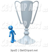 3d Clip Art of a Winning Blue Athlete Person Staring Upwards in Awe at His Oversized Silver Trophy Cup by 3poD