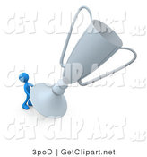 3d Clip Art of a Winning Blue Athlete Person Trying to Lift His Giant Silver Trophy Cup by 3poD