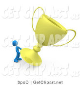 3d Clip Art of a Winning Blue Athletic Person Trying to Move His Giant Gold Trophy Cup by 3poD