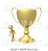 3d Clip Art of a Winning Golden Athlete Person Staring Upwards in Awe at His Oversized Trophy Cup by 3poD