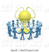 3d Clip Art of a Winning Team of Blue Mascot Figures Holding Hands and Standing in a Circle Around Their Golden Championship Trophy by 3poD