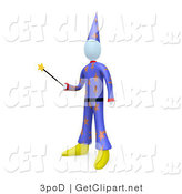 3d Clip Art of a Wizard or Warlock Man Wearing a Purple Hat and Clothes with Star Patterns, Holding a Magic Wand and Preparing to Cast a Spell or Perform a Magic Trick by 3poD