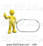 3d Clip Art of a Yellow Figure Giving the Thumbs up While Standing by a Blank White Sign Which Is Ready for an Advertisement by 3poD