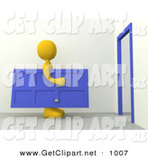 3d Clip Art of a Yellow Figure Man Carrying a Blue Door Towards a Door Frame, Symbolizing Moving or Home Repairs by 3poD