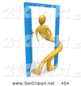 3d Clip Art of a Yellow Man Twisted Around the Frame of an Open Blue Door, Symbolizing Lonliness, Split Personalities, Uncertainty, and an Egotistical Person by 3poD