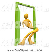 3d Clip Art of a Yellow Person Twisting Around the Green Frame of an Open Green Door, Symbolizing Lonliness, Split Personalities, Uncertainty, and an Egotistical Person by 3poD