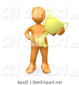 3d Clip Art of an Orange Athletic Person Proudly Holding His Gold Trophy by 3poD