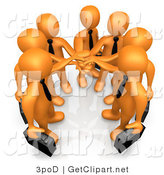 3d Clip Art of an Orange Business Team All in by 3poD