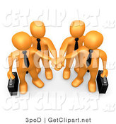 3d Clip Art of an Orange Business Team Stacking Their Hands by 3poD