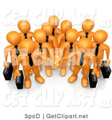 3d Clip Art of an Orange Business Team with Their Hands in by 3poD