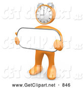 3d Clip Art of an Orange Clock Head Person Holding a Blank White Sign by 3poD