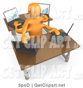 3d Clip Art of an Orange Employee with Four Arms Multitasking While Operating Four Laptop Computers at Two Different Desks in an Office by 3poD