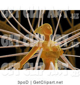 3d Clip Art of an Orange Futuristic Human Female Cyborg or Alien Connected to Cables by 3poD