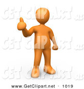 3d Clip Art of an Orange Man Giving the Thumbs up by 3poD