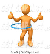 3d Clip Art of an Orange Man Giving Two Thumbs up While Swinging Their Hips with a Hula Hoop During a Competition by 3poD