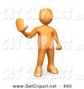 3d Clip Art of an Orange Man Holding Their Hand out and Gesturing to Stop by 3poD