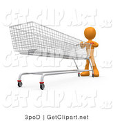 3d Clip Art of an Orange Man Pushing a Super Long Shopping Cart in a Store While Planning to Purchase a Lot by 3poD