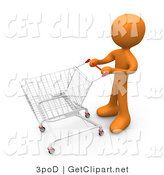 3d Clip Art of an Orange Man Standing with a Shopping Cart in a Store by 3poD
