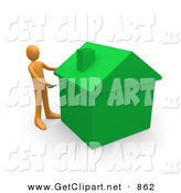 3d Clip Art of an Orange Man Using a Screwdriver to Finish off a Green Energy Efficient Home After Doing Eco Friendly Upgrades, Repairs, or New Construction on White by 3poD