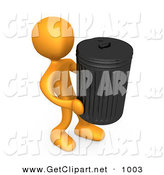 3d Clip Art of an Orange Person Carrying a Heavy Trash Can out to the Curb on Garbage Day by 3poD