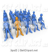 3d Clip Art of an Orange Person Standing out in a Crowd of Blue People Seated in Chairs During a Staff Meeting at Work by 3poD