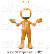 3d Clip Art of an Orange Person with a Tv Monitor As a Head, Shrugging by 3poD