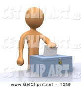 3d Clip Art of an Orange Voter Person Putting Their Voting Envelope in a Ballot Box During a Presidential Election Orange Voter Person Putting Their Voting Envelope in a Ballot Box During a Presidential Election by 3poD