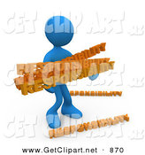 3d Clip Art of an Overwhelmed Dependable Blue Man Carrying a Heavy and Large Load of Responsiblities by 3poD
